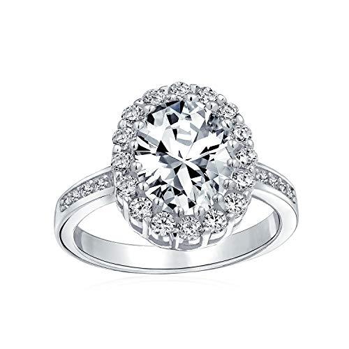 Bling Jewelry in Stile Vintage 4CT Oval Pave Halo Cubic Zirconia CZ Promessa Anello di Fidanzamento per Donne Argento 925