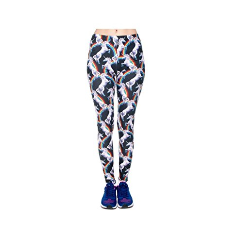 Hanessa Leggings voor dames, unicorn, regenboog, eenhoorn, zwart, wit, rood, geel, groen, bedrukte leggings, cadeau voor Kerstmis, broek, lente, zomer, kleding L59