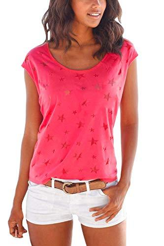 Lantch  Damen T-Shirt Top Sommer Basic Kurzarm Shirts Baumwoll Tee Freizeit Oberteile, M, Rot