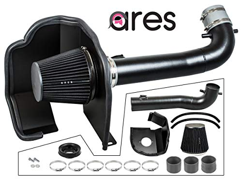 Ares Motorsports BLACK Heat Shield Cold Air Intake + Filter 14-19 Compatible With Silverado Sierra 1500 V8