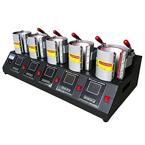 JZTOL 5 In 1Mug Press Machine, 220V Pneumatic Auto Mug Transfer Sublimation Heat Press Machine ST-110 For Mugs Cup