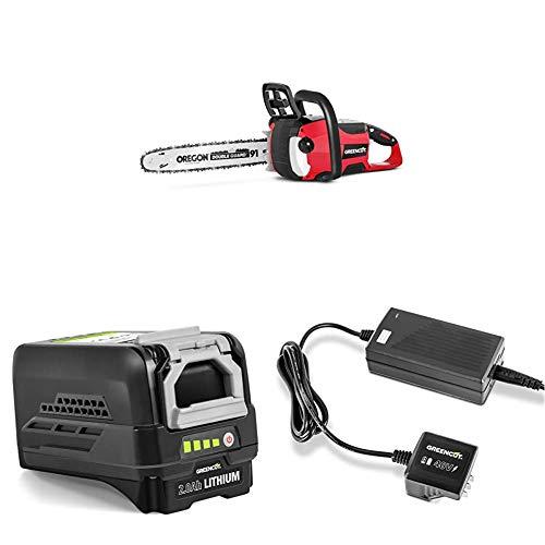 GREENCUT Motosierra de bateria 40 V + Cargador para baterias de Litio + Bateria de Litio Recargable de 40V
