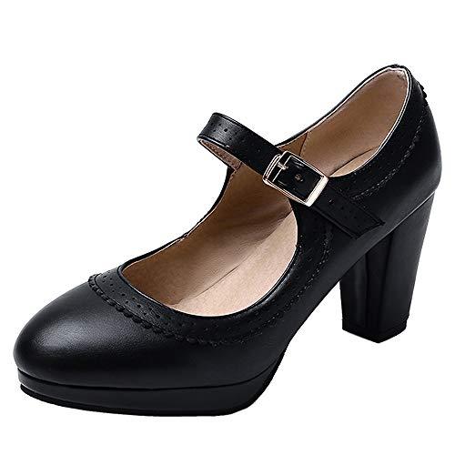 BeiaMina Damen Klassischer High Heel Pumps Schuhe Plateau Party Schuhe Blockabsatz Pumps Schnalle Black Gr 46 Asian
