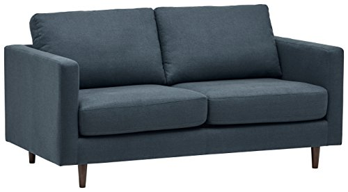Rivet Revolve Modern Upholstered Sofa Bed, 70'W, Denim
