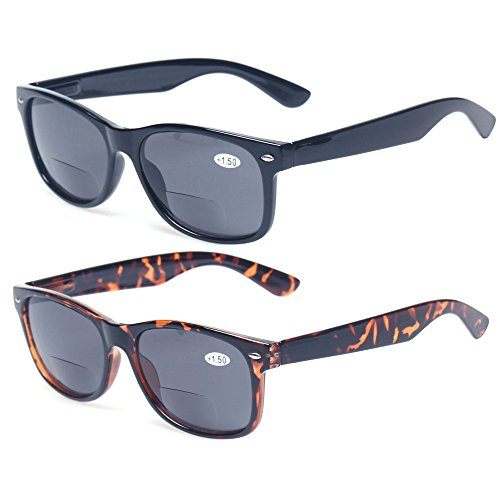 Bifocal Reading Glasses Grey Lens Spring Hinge Plastic Outdoor Sunglasses (1 Black 1 Tortoise, 2.5)