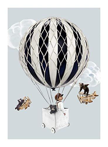 Xpboao Pintar por números - Animales de fantasía en Globo aerostático - Pintura de Arte Moderno - Kit de Pintura de Bricolaje Adecuado para Adultos y Principiantes - 40x50cm - Sin Marco