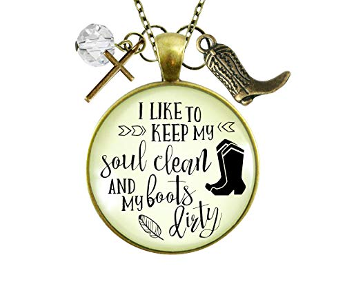 """Gutsy Goodness 24"""" Western Cross Necklace Keep Soul Clean Boots Dirty Southern Jewelry"""