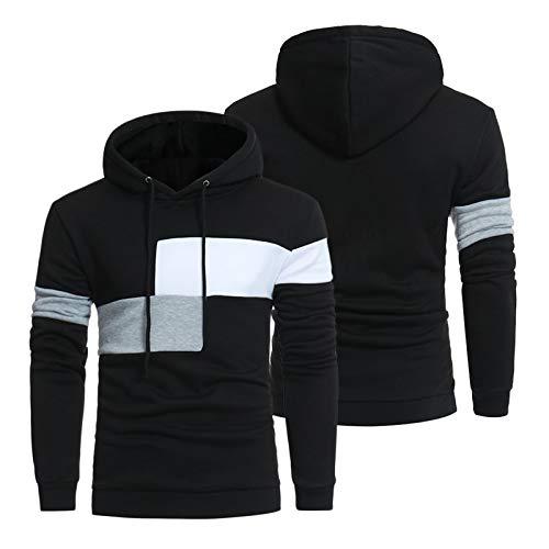 KHXJYC Sudadera con capucha de manga larga, con costuras en contraste, chaqueta deportiva, cómoda y transpirable, #2, L