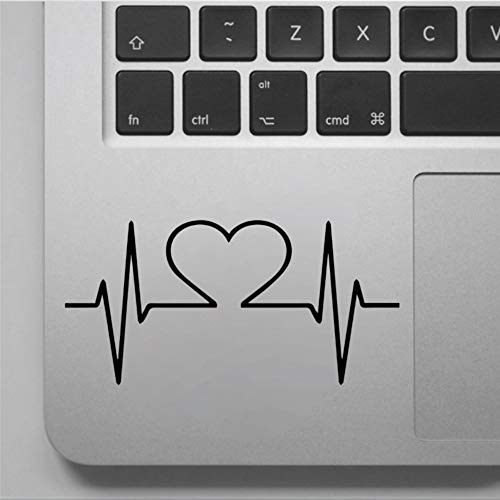 Calcomanía de corazón con forma de corazón, con diseño de corazón y electrocardiograma, para ordenador portátil, de vinilo, para computadora portátil, portátil, calcomanía para taza troquelada