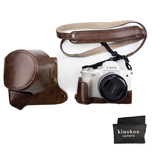 Canon EOS M50, Kinokoo Voller Fall für Canon EOS M50 und 15-45mm Objektiv, PU Ledertasche Schutzhülle (Kaffee)