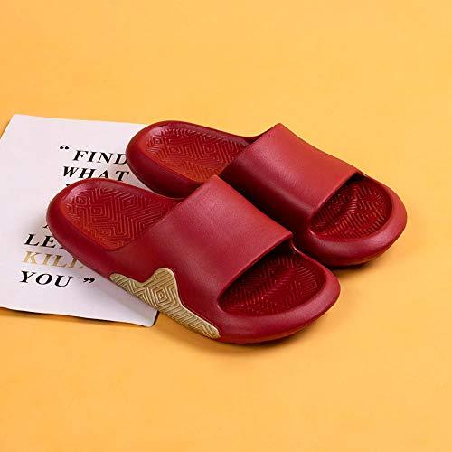 XZDNYDHGX Mujeres Zapatos De Piscina,Zapatillas de Interior para el hogar para Mujer, cómodas, Antideslizantes, Chanclas, baño, Pareja, Familia, Zapatos Planos, Sandalia de Hotel, Rojo, UE 34-35