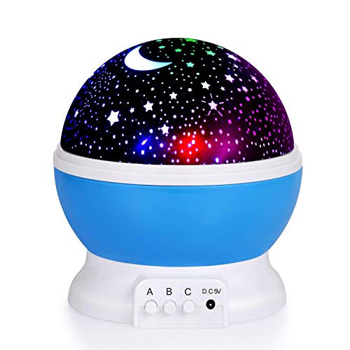 Baby Night Lights, Moon Star Night Light Rotating Star Projector, Baby Night Light, Night Lighting Lamp 4 LED 8 Modes with USB Cable, Best for Bedroom Nursery Kids Baby Children Birthday Gift