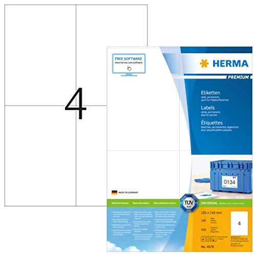 HERMA 4676 Universal Etiketten DIN A4 groß (105 x 148 mm, 100 Blatt, Papier, matt) selbstklebend, bedruckbar, permanent haftende Adressaufkleber, 400 Klebeetiketten, weiß