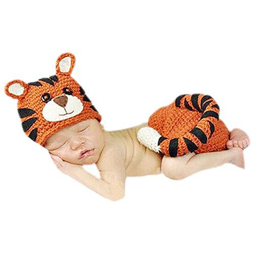DELEY Bébé au Crochet Tricot Tiger Costume Tenues Casquettes Pantalon Bébé Jeu de la Photographie Prop 0-6 Mois
