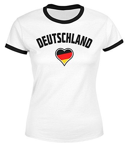 MoonWorks Damen WM-Shirt Deutschland Herz 2018 Retro Trikot-Look weiß-schwarz S