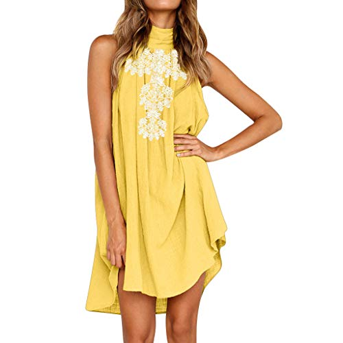 Frauen Sommer Baumwolle Leinen Kleid LASltd Damen Neckholder Ärmelloses Kleid Solid Casual Kleid Abend Party Kleid Chic Beach Dress Loose Minikleid