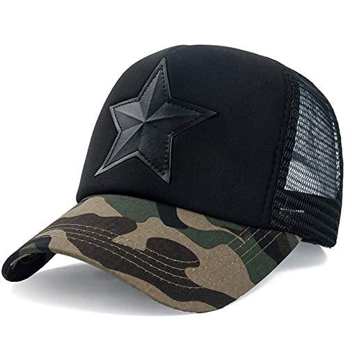 Cap Casquette de Baseball Snapback New 3D Five-Pointed Star Embroidery Mesh Baseball Cap Fashion Summer Snapback Camouflage Hat Cap for Men & Women Leisure Cap Darkcamoblack