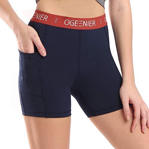 Ogeenier Damen Laufhose Kurz Sport Yoga Shorts Kurze Hose Fitness Laufshorts Trainingsshorts Sporthose Kurz mit Taschen