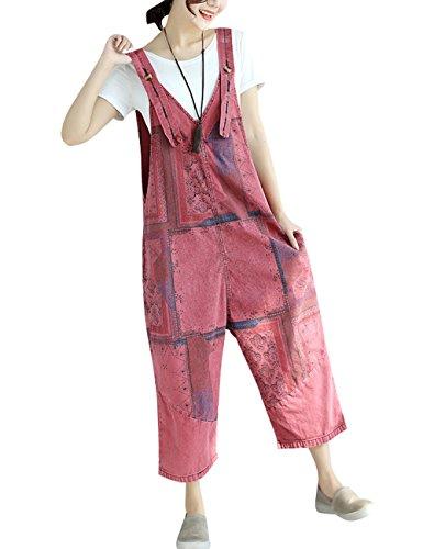 Youlee Mujer Pantalones de Pierna Ancha Peto de Mezclilla Monos Pantalones Monos Style 19 Red