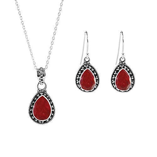 Sivalya AMALFI 7.50Ctw Raw Ruby Necklace and Earrings Set in Solid Silver - Jewelry Set for Women in 925 Sterling Silver - Natural Teardrop Raw Ruby Gemstones - Gift Packaging Included