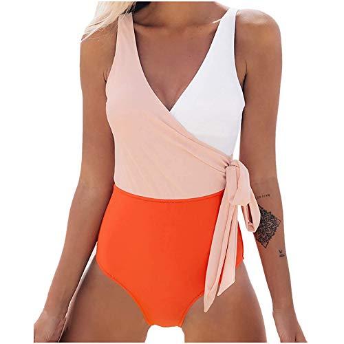 JXQ-N Traje de baño Faishon para Mujer, Bikini sólido Acolchado con Push-up para Mujer, Traje de baño de una Pieza (#032524)