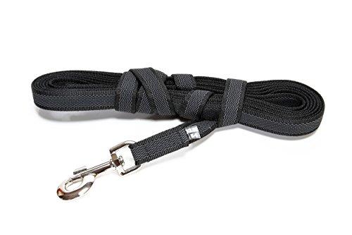 Julius-K9, 218GM-S5 Color & Gray Gumierte leine Schwarz-Grau 14mm*5 m mit Schlaufe, max. für 30 kg Hunde