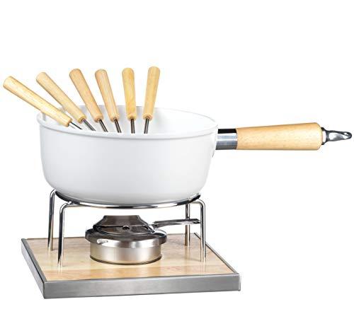 MÄSER 931889 Käsefondue Set für 6 Personen, 9-teiliges Komplettset für Fondue nach Schweizer Art mit Keramik beschichtetem Topf, im hübschen Geschenkkarton, Aluminium, 2.2 liters