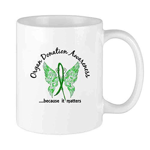 N\A Taza de café Divertida Taza de donación de órganos Mariposa Taza cerámica única para Hombres y Mujeres Que aman Las Tazas de té y la Taza de café 12 oz