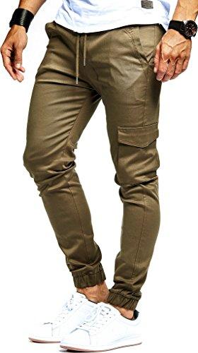 Leif Nelson Herren Jogger Chino Cargo Jeans Hose Freitzeithose LN8071; Größe XL; Khaki
