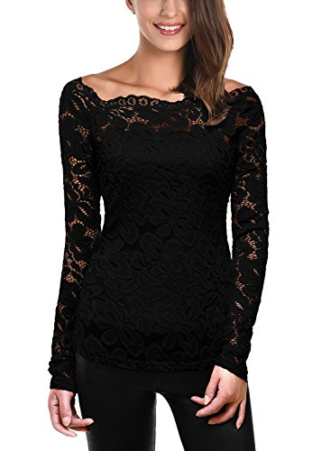 DJT Mujeres 2 en 1 Camisa de Encaje Floral Crochet Top Shoulder Off Lace Shirt Negro Small
