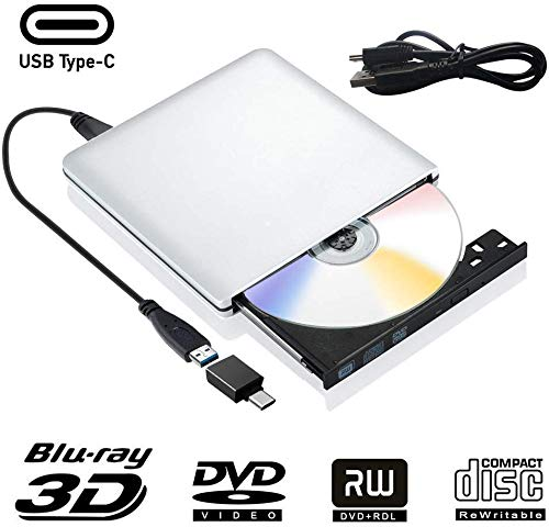 Externe Blu Ray DVD Laufwerk 3D, USB 3.0 USB Type C Bluray CD DVD RW Rom Player Tragbar für PC MacBook iMac Mac OS Windows 7/8/10/Vista/XP (Silver)