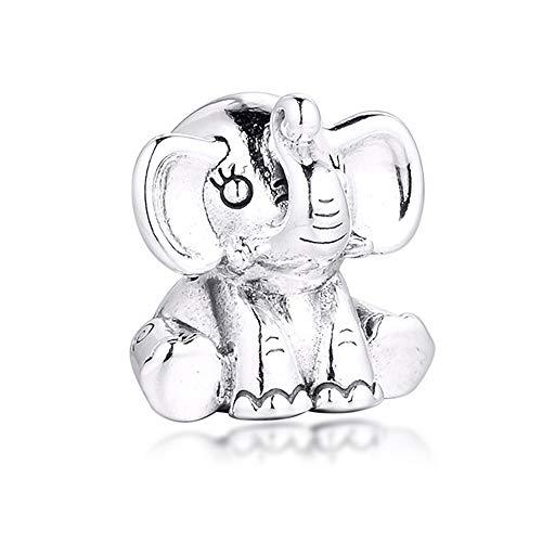 CHICBUY Abalorio de plata de ley 925 con diseño de elefante, para pulseras Pandora originales