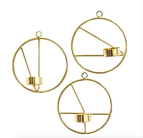 Dipamkar 3er Set Metall runde goldene Wandkerzenhalter - Hängende Kerzenhalter - Wandleuchter - Teelichthalter H25 x B25 cm