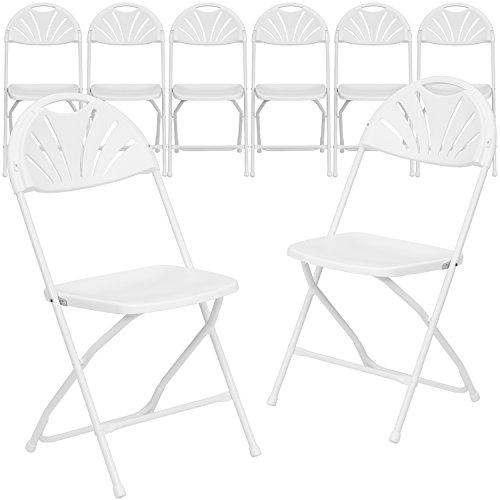 Flash Furniture 8 Pack HERCULES Series 650 lb. Capacity White Plastic Fan Back Folding Chair