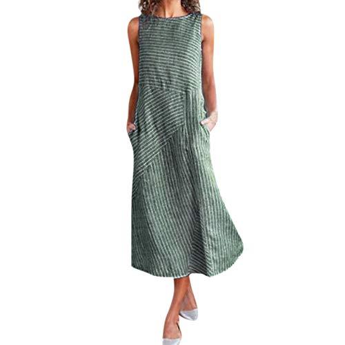 Janly Clearance Sale Vestido de mujer, Vestido de mujer casual con estampado a rayas sin mangas con cuello y bolsillo de lino (Verde-S)