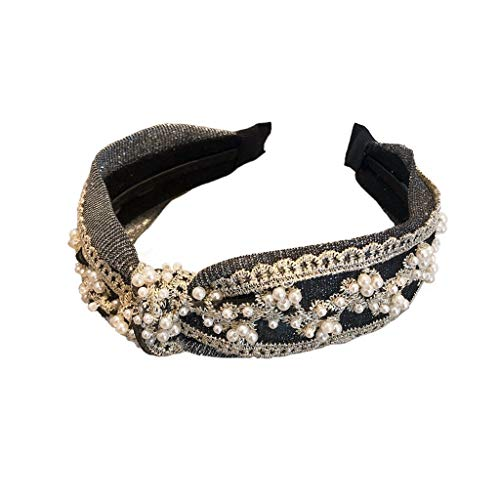 TJLSS Korea Silver Sequins with Glitter Pearl Hairband Female Net Red Wild Fashion Trendy Headband Female Cute Outer Wear