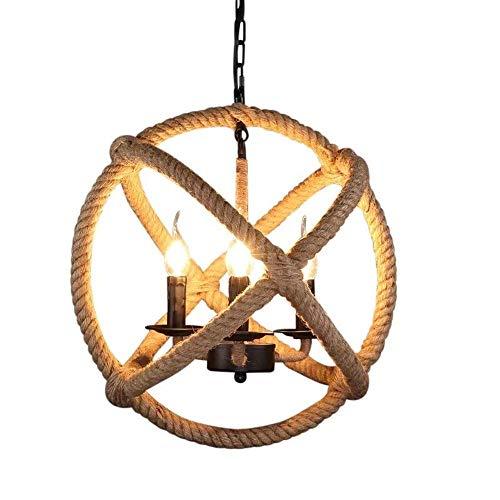 Kroonluchter, Vintage Hennep kroonluchter industriële stijl Lighting Creative Design Kroonluchter Plafondlamp Ball Restaurant Cafe Chandelier