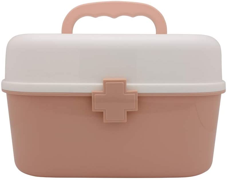BangQiao Plastic First Aid Storage Box Container Bin with Removable Tray and Portable Handle, Family Emergency Medicine Kit Case Organizer, White&Pink