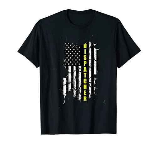 Dispatcher アメリカ国旗 細い黄色のライン ファーストレスポンダー Tシャツ