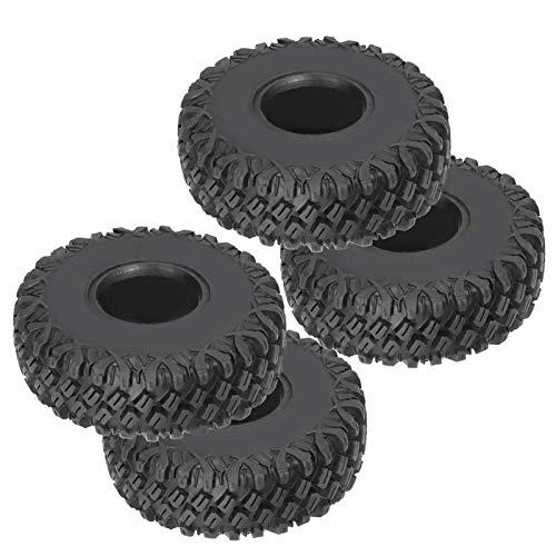 4 Juegos de neumáticos RC con Piezas de Cubo de Rueda, Piezas de Accesorios de Rueda y neumáticos de Control Remoto de 1,9 Pulgadas aptas para TRX4 / SCX10 / 90046 1/10 RC Crawler(Plata)