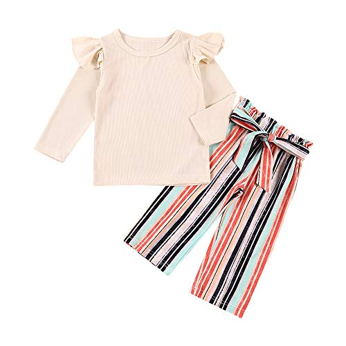 Toddler Baby Girl Clothes Cute Long Sleeved Solid Color Tops+Striped Pants Fall Winter Outfit Set(3-4T)