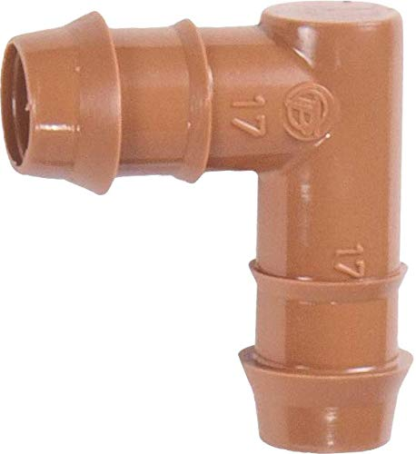 """(20-Pack) Drip Irrigation Brown Barbed Elbow 90 Degree Fittings - Fits 1/2"""" Inch, 17mm .600"""" ID Drip Tubing - Made In The USA (Elbow 20 Pack)"""