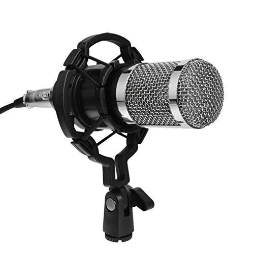 Bm800 dinámico micrófono de condensador de estudio de sonido de audio de micrófono de grabación con montaje de choque para la radiodifusión Ktv Canto Plata y Negro