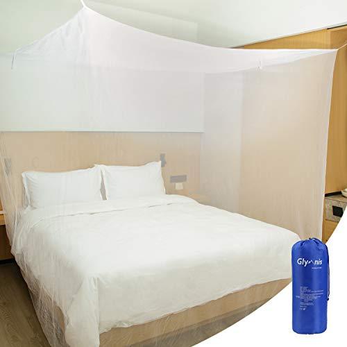 Glymnis Mosquitero Cuadrados Mosquitera para Cama Infantil y Cama Grande 220x200x200 cm con Kit de Colocación Anti-Mosquitos Malla antinsectos para el Hogar o Aire Libre Blanca