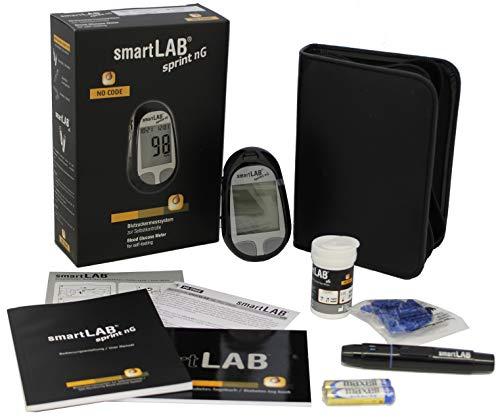 smartLAB sprint nG Blutzuckermessgerät Bundel mmol/L in Schwarz mit 50 Teststreifen und 50 Lanzetten