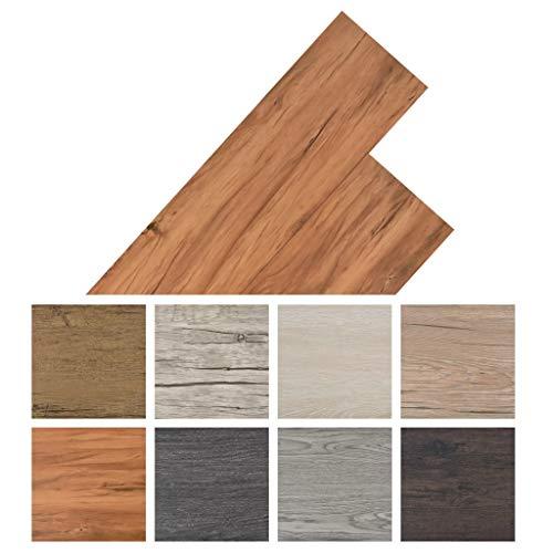 Irfora PVC-Laminat-Dielen PVC-Fußboden-Set Selbstklebend Dunkelgrau Vinyl Bodenbelag Bodenbelag-Set 4,46 m² 3 mm Wärmeisolierend und Schalldämmpfend Ulme Natur