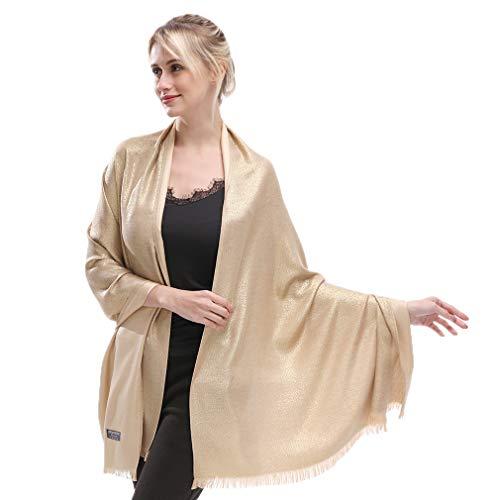 KAVINGKALY Pashmina Schal Für Frauen Glitter Shimmer Wendeschals und Wickelschals Für Abendkleider (Gold)