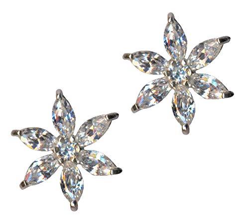 Pendientes de plata de ley 925 con diseño de estrella y flor, con circonitas blancas, cristales brillantes, de plata de ley 925, amor, creencia, esperanza, emoción, símbolo, estilo extravagante