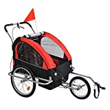 DPBHDM Bicycle Bike Trailer Jogger Stroller for Kids,Jogger, 2-in-1 Canopy, Folding Child Bike Trailer Easy to Connect and Disconnect to Bicycles