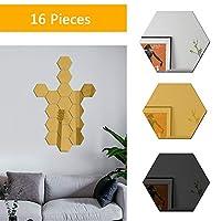 ミラータイル16個の壁には、ホームリビングルームベッドルームのインテリアのためのウォールステッカーデカールを設定するミラーアクリルミラーをマウント,Polygon gold